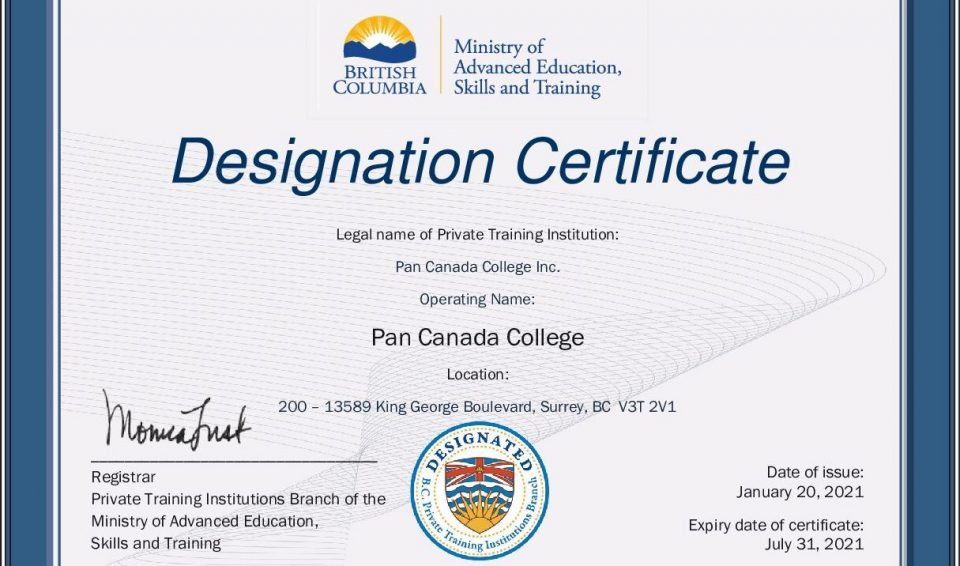DESIGNATION CERTIFICATE by Private Training Institutions Branch (PTIB)